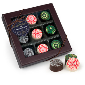Personalized Christmas Deco in Blue and Gold Gourmet Belgian Chocolate Truffle Gift Box (9 Truffles)
