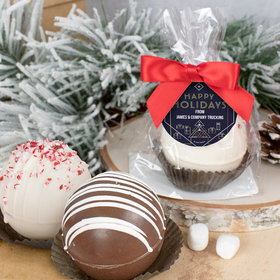 Personalized Christmas Hot Chocolate Bomb - Holiday Deco Blue and Gold