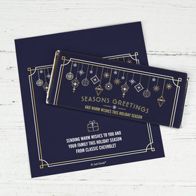 Personalized Christmas Holiday Deco in Blue and Gold Chocolate Bar Wrappers