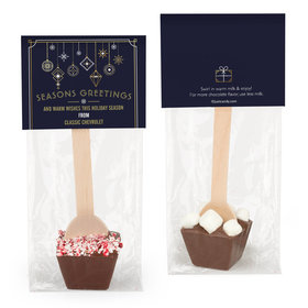 Personalized Holiday Deco Blue and Gold Hot Chocolate Spoon