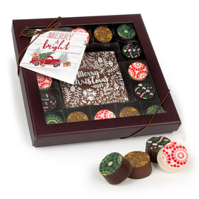 Christmas Rustic Red Truck Gourmet Belgian Chocolate Truffle Gift Box (17 pieces)