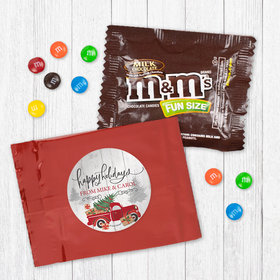 Personalized Christmas Rustic Red Truck Milk Chocolate M&Ms