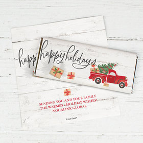Personalized Christmas Rustic Red Truck Chocolate Bar Wrappers