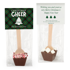 Personalized Christmas Cheer Plaid Hot Chocolate Spoon