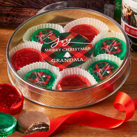 Personalized Christmas Joy in Plaid Large Plastic Tin with 8 Chocolate Covered Oreo Cookies