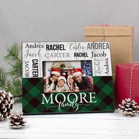 Personalized Christmas Rustic Plaid Family of 4 Picture Frame