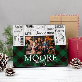 Personalized Christmas Rustic Plaid Family of 5 Picture Frame