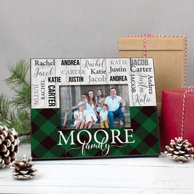 Personalized Christmas Rustic Plaid Family of 6 Picture Frame