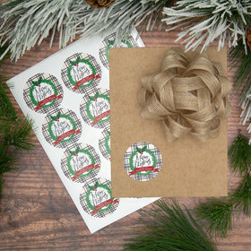 Personalized Merry Christmas Wreath Labels (72 Pack)