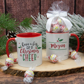Personalized Big Cup of Christmas Cheer 11oz Mug with Lindt Truffles