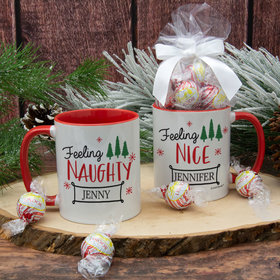 Personalized Feeling Naughty - Nice 11oz Mug with Lindt Truffles