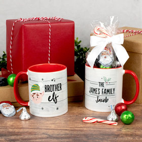 Personalized Brother Elf 11oz Christmas Mug with Holiday Candy