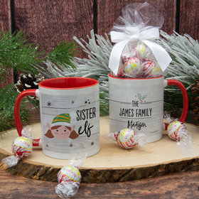 Personalized Santa Elf Family Sister 11oz Mug with Lindt Truffles