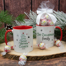 Personalized Christmas Tree Family of 6 11oz Mug with Lindt Truffles