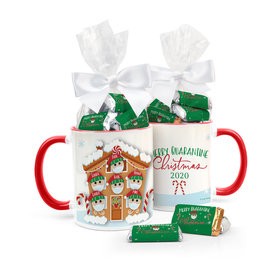 Quarantine Christmas Family of 6 Personalized 11oz Coffee Mug with approx. 24 Wrapped Hershey's Miniatures