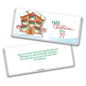Personalized Christmas Quarantine Family of 6 Chocolate Bar & Wrapper