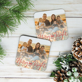 Personalized Cork Coaster- Merry and Bright