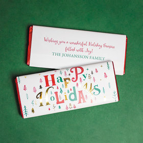 Personalized Christmas Happy Holidays Chocolate Bar & Wrapper