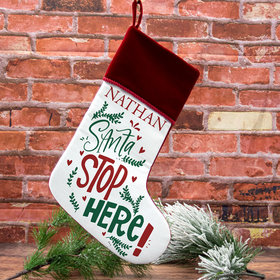 Personalized Stocking Santa Stop Here