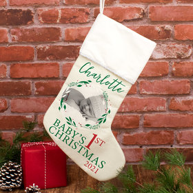 Personalized Stocking Babies First Xmas Photo