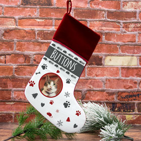 Personalized Stocking Cat Photo
