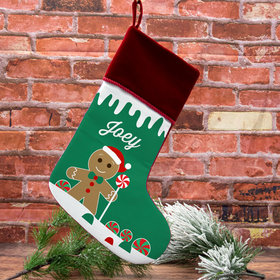 Personalized Stocking Gingerbread Character Boy