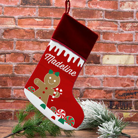 Personalized Stocking Gingerbread Character Girl