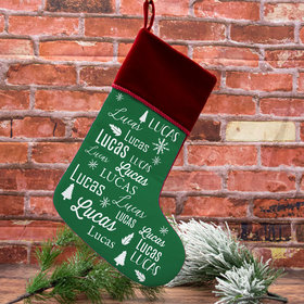 Personalized Stocking Repeating Name Solid