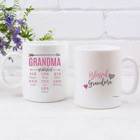 Personalized Blessed Grandma 11oz Empty Mug - 7 Grandkids