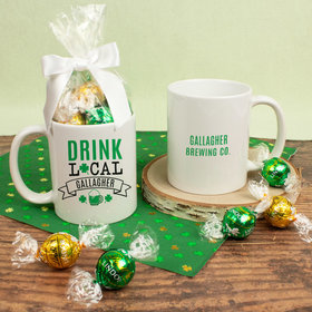 Personalized St. Patrick's Day Drink Local 11oz Mug with Lindt Truffles