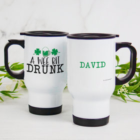 Personalized Stainless Steel Travel Mug (14oz) - St. Patrick's Day A Wee Bit Drunk