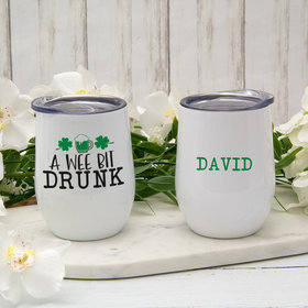 Personalized Wine Tumbler (12oz) - St. Patrick's Day A Wee Bit Drunk