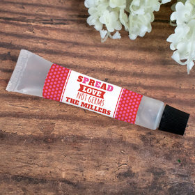 Personalized Hand Sanitizer Tube Valentine's Day 0.5 fl. oz. - Spread Love Not Germs Polka Dots