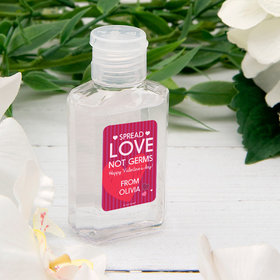 Personalized Hand Sanitizer Valentine's Day 2 fl. oz bottle - Spread Love Not Germs