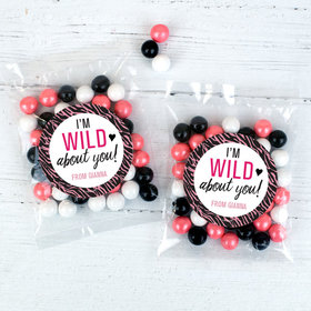 Personalized Valentine's Day Wild About You 1oz Candy Bags with Sixlets