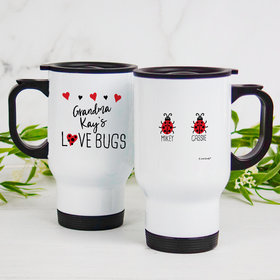 Personalized Stainless Steel Travel Mug (14oz) - Two Love Bugs