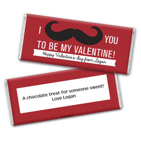 Personalized Valentine's Day Mustache Valentine Chocolate Bar Wrappers Only