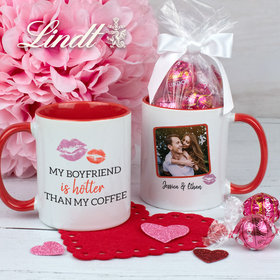 Personalized My Boyfriend is Hotter Than My Coffee 11oz Mug with Lindt Truffles
