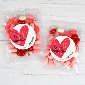 Personalized Valentine's Day Be My Valentine Candy Bags with Jelly Belly Jelly Beans