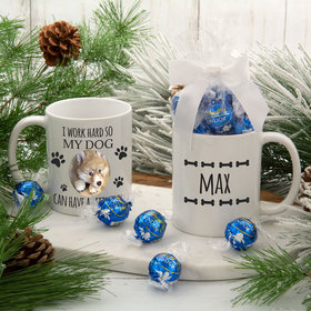 Personalized Work Hard for my Dog 11oz Mug with Lindt Truffles