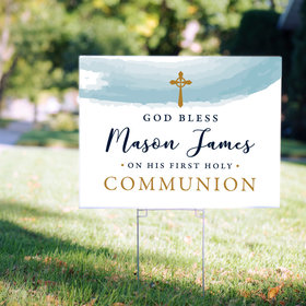 Personalized Communion Yard Sign Watercolor God Bless