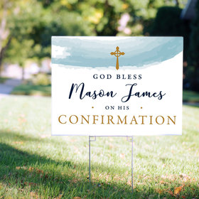 Personalized Confirmation Yard Sign Watercolor God Bless
