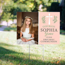 Personalized Communion Yard Sign Pink God Bless