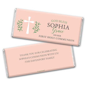 Personalized Communion God Bless Pink Chocolate Bar & Wrapper