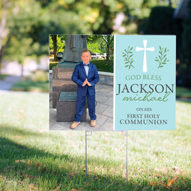Personalized Communion Yard Sign Blue God Bless