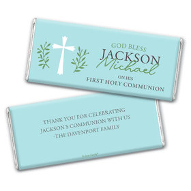Personalized Communion God Bless Blue Chocolate Bar & Wrapper