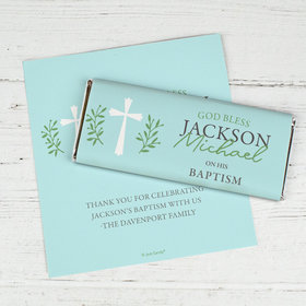 Personalized Baptism God Bless Blue Chocolate Bar Wrappers Only