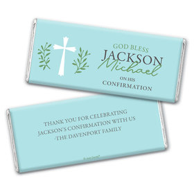 Personalized Confirmation God Bless Blue Chocolate Bar & Wrapper