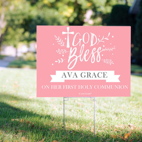 Personalized Communion Yard Sign Floral God Bless