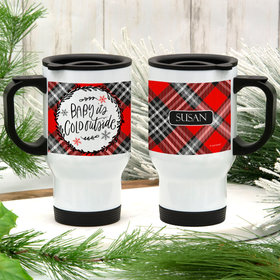 Personalized Stainless Steel Travel Mug (14oz) - Baby its Cold Outside (Red Plaid)